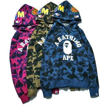 spbest A Bathing Shark Mens Hoodie Bape Head Camo Jacket Pullover Sweatshirt Coat