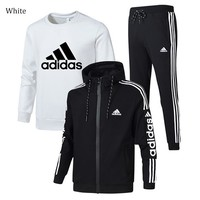 ADIDAS winter plus velvet thickening sports and leisure warm men's three-piece White