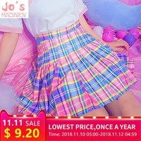 Harajuku Plaid Pleated Skirt High Waist Casual Rainbow A-Line Skirt Cute Korean Uniform Female Kawaii Women Bottoms Midi Skirt