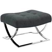 Slope Fabric Ottoman Gray
