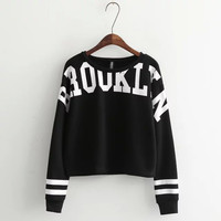 Stripe Letter Print Long-Sleeve Pullover Shirt