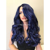 Blue Thick Textured Hair Human Hair Blend Invisible Perfect Fit Lace Part Wig - Regina