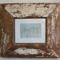 8x10 White Rustic Reclaimed Wood Picture Frame Made From an Old Door