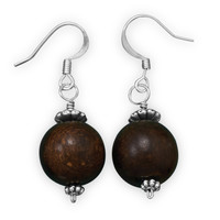 Fashion Earrings with Round Wooden Beads