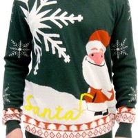 Ugly Christmas Sweater Happy Santa Claus Peeing Santa in Snow Adult Green White and Red Sweater