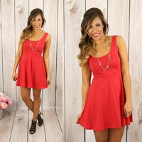 Seize the Day Dress in Strawberry Red