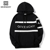 Givenchy New fashion embroidery letter couple hooded long sleeve top sweater Black