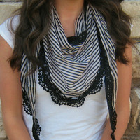 Lace Striped Scarf  by GraceandLaceCo on Etsy
