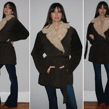 Vintage PENNY LANE Coat / BOHO Fall, Winter Jacket / Suede Leather, Faux Fur Trim / Mossy Brown / Hippie, Groupie / Plus Size