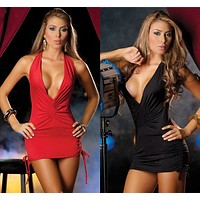 Hot Deal On Sale Cute Red Spaghetti Strap Sexy Skirt Club Exotic Lingerie [6595475715]
