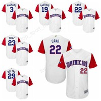 Dominican Republic Jersey Men 2017 World Classic Baseball Jerseys 22 Robinson Cano 3 Manny Machado 19 Jose Bautista Team Color White