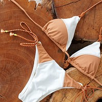 2020 new women's sexy small chest thin three-point half hip swimsuit two-piece
