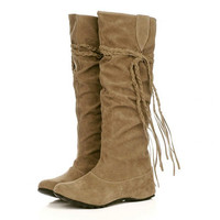 Plus Size 34-43 Shoes Woman Knee High Boots Wedges Ladies Shoes Botas Feminina Tassels Lace-up Women Boots Zapatos Mujer WSH762