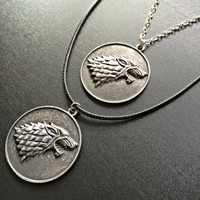 Game of Thrones House STARK Necklace- Dire wolf Pendant Fandom jewelry gift for GoT wolf Pendant geeky jewellery Gothic Game of thrones gift