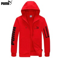 PUMA popular zip-up hoodie for casual couples with printed arm jackets