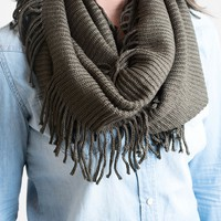 Fall's Fringy Infinity Scarf Olive