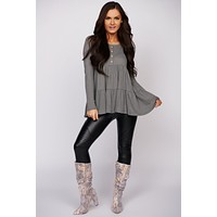 Dancing Through The Night Long Sleeve Waffle Knit Top (Sage)