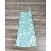 Motel - Heidi Backless Fishscale Sequin Slip Dress in Peppermint