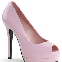 Pink Patent Leather Bella Peep Toe Pumps