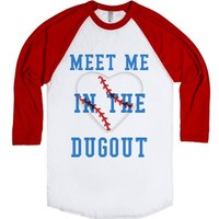 Meet Me In The Dugout-Unisex White/Red T-Shirt
