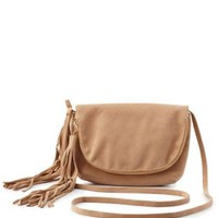 Tan Tassle Fold-Over Cross-Body Bag by Charlotte Russe