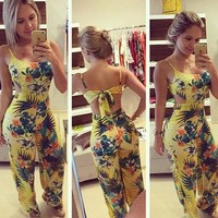 2015 New Summer Rompers Womens Jumpsuit Strappy Halter Playsuit Sexy Yellow Floral Print Backless Long Pants = 5658808449