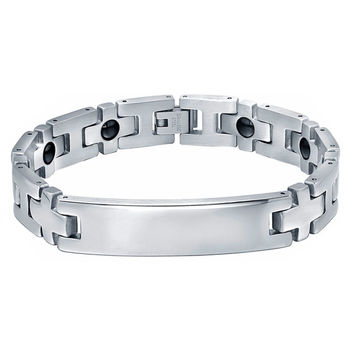 Stainless Steel 13mm Cross and Hematite Magnetic Therapy ID Bracelet