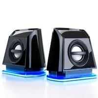 GOgroove BassPULSE 2MX 2.0 USB Multimedia Computer Speakers with Blue LED Lights , Dual Drivers & Passive Subwoofer - Works with PC , Apple MAC , Dell , HP , CybertronPC Desktop & Laptop Computers
