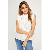THML Flutter Sleeve Embroidered Top