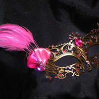 Pink and Gold Metal Masquerade Mask with Feather Accents
