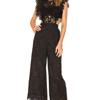 Nightcap Eyelet Jumpsuit in Black | REVOLVE