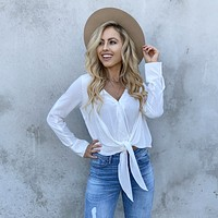See The Light White Wrap Blouse