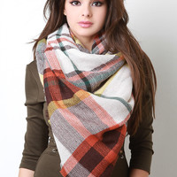 Plaid Gauzey Knit Square Scarf