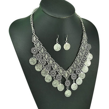 Gypsy Bohemian Beachy Chic Hollow Out Flower Coin Fringe Statement Necklace Earrings Jewelry Set Festival Silver Bib Turkish