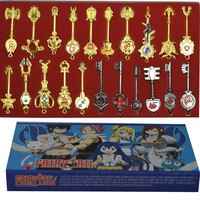 21pcs/set Fairy Tail Lucy Key Keychain Pink Tattoo Heartfilia Sign of the Zodiac Golden Keys