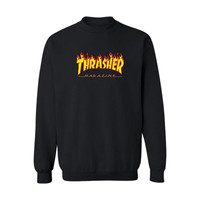 Thrasher Magazine Red Flame Logo Black & Yellow Crew Neck Sweatshirt
