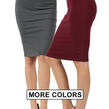 Women Knee Length Pencil Straight Office Midi Skirts