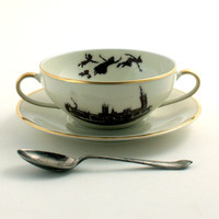 Altered Peter Pan Cereal Mug Soup Bowl Saucer Porcelain Gold Trim London England Big Ben White Brown Romantic