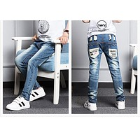 New Year's gift jeans boy for children wear fashionable style and high quality kids jeans boys ripped jeans 3-14 years old