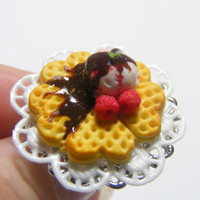 Scented Waffle with Ice Cream Miniature Food Ring   by NeatEats