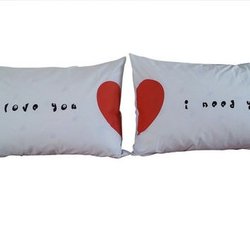 Valentine Couple Pillow Cases I love You set for his & her Bedroom Valentine gift Wedding Gift Pillow, Anniversary Gift, engagement present