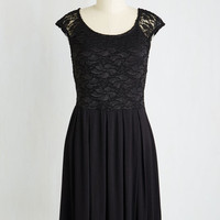 Mid-length Short Sleeves A-line Bold to Behold Dress in Black