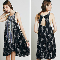 """Free People"" Fashion Retro Totem Print Frills Backless Sleeveless Vest Mini Dress"