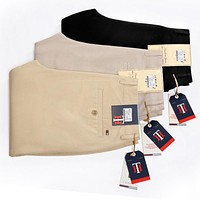 Clothing Men Slim Straight Casual Pants Men Pocket Trousers New Fashion Business Style Cotton Pants For Men