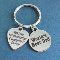 World's Best Dad, The Love between Father & Daughter is Forever, Silver, Heart, Keyring, Gift, Jewelry, Accessory