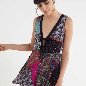 UO Mariette Double Tie-Front Romper | Urban Outfitters