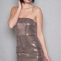 Ambiance Apparel Sequin Shimmer Tube Bandage Mini Dress - Bronze