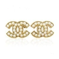 Angel Stars Gold Plated Pearls Double CC C C Small Stud Earrings
