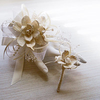 Shimmering Winter Christmas Sola Flower Wrist or Pin On Corsage and/or Boutonniere, Winter Wedding, Christmas Wedding. Made to Order.