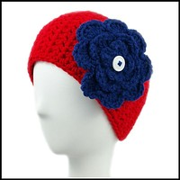Red Earwarmer with Navy Blue Flower